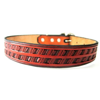 Hand Tooled Leather Dog Collar
