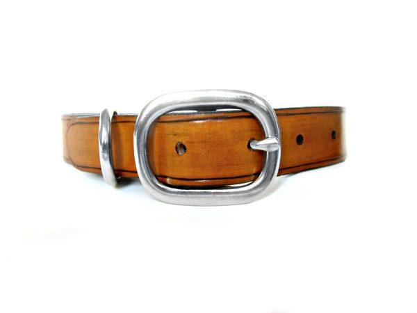 Tan Leather Dog Collar
