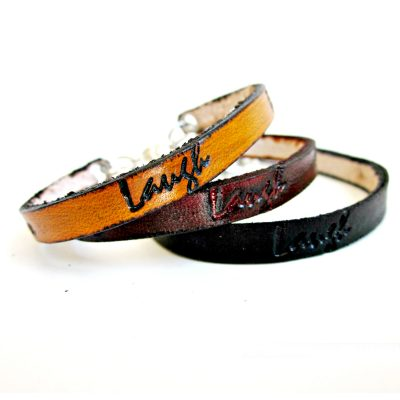 Love Laugh Believe Thin Leather Bracelet