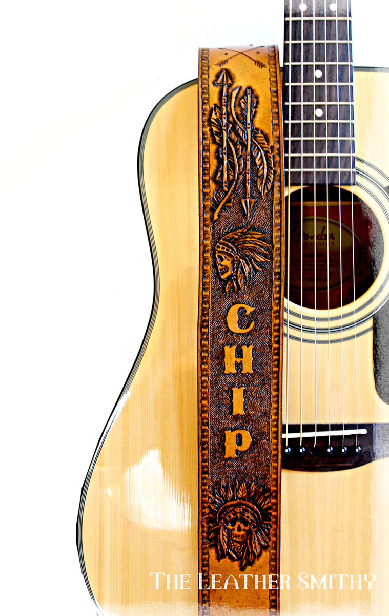Leather Guitar Strap With Custom Hand Tooled Design