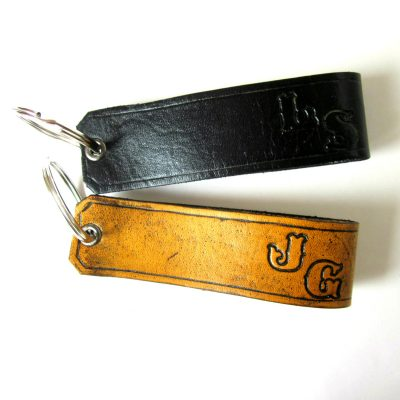 Leather Key Fob with Initials