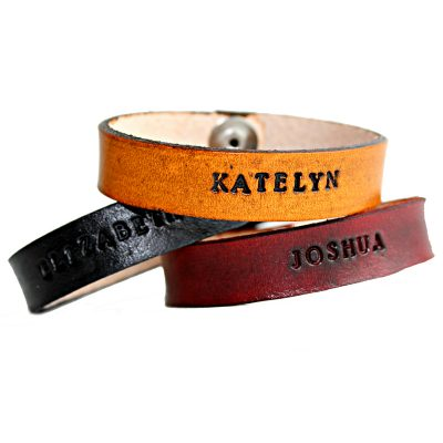 Personalized Leather Snap Cuff