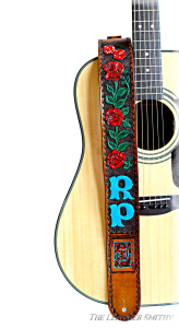 Painted & Tooled Roses Cards Personalized Leather Guitar Strap