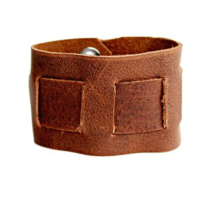 Rustic Interwoven Men's & Women's Brown Leather Cuff
