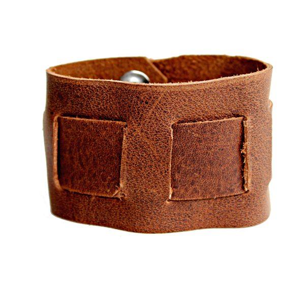 Rustic Interwoven Men's & Women's Brown Leather Cuff