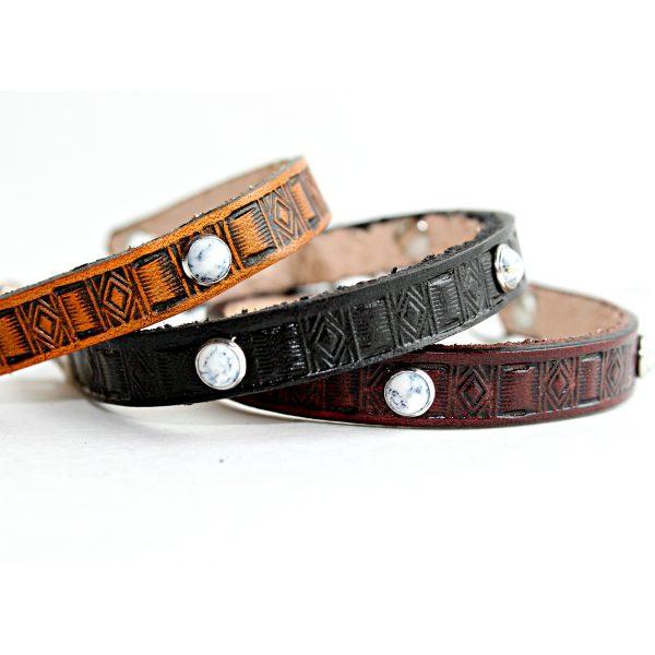 Southwestern White Rivet Leather Bracelet
