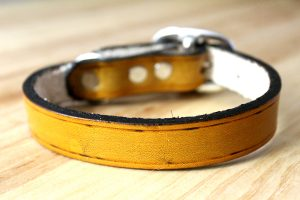 Tan Leather Dog Collar for Medium or Large Dogs