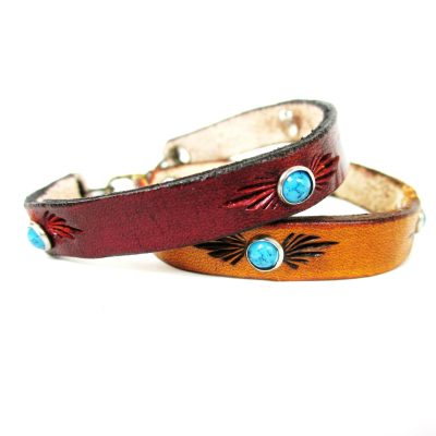Turquoise Rivet Southwestern Thin Leather Bracelet