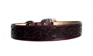 Woodland Vine Leather Dog Collar