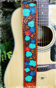 Hibiscus Flower Hand Tooled and Painted Leather Guitar Strap