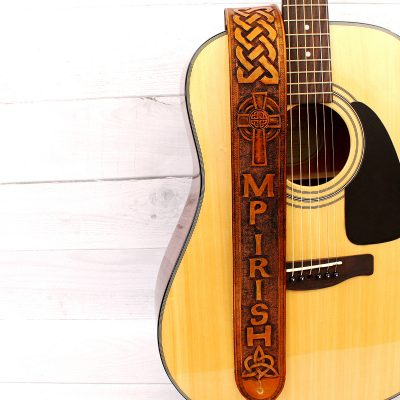 Celtic Cross Personalized Leather Guitar Strap