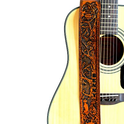 Dog Days of Summer Personalized Leather Guitar Strap