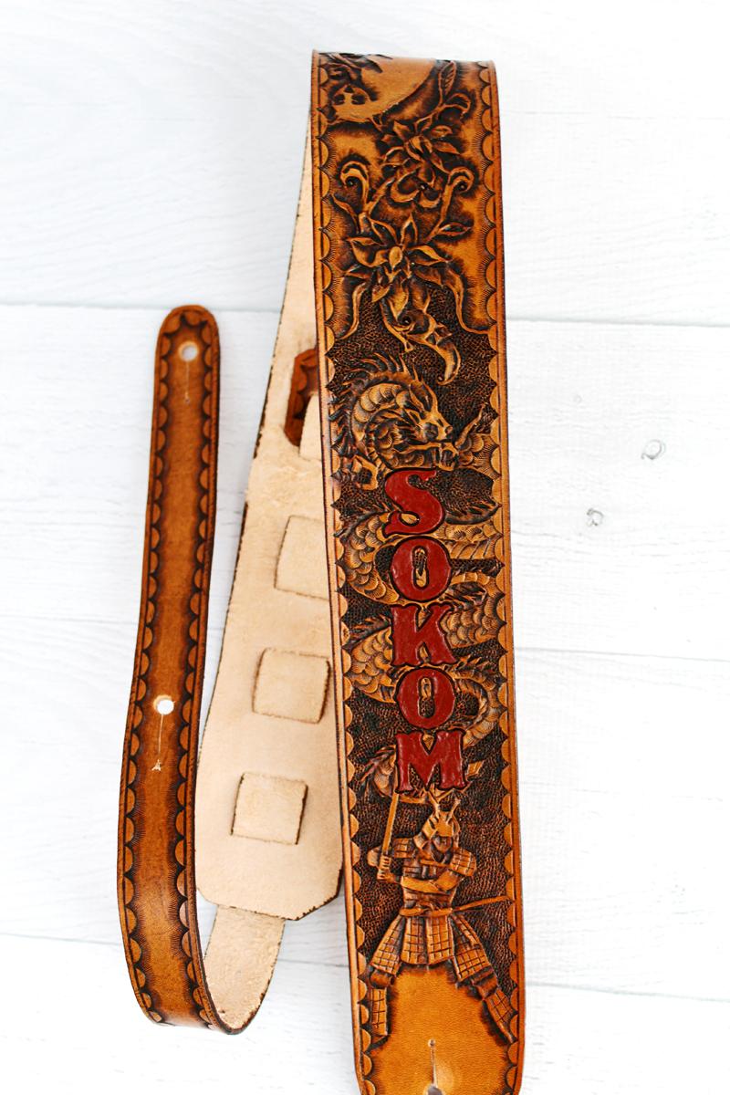 Legendary Samurai Dragon Full Grain Leather Guitar Strap