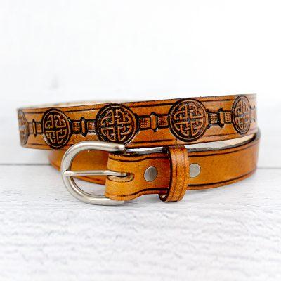 Women's Celtic Knot Full-Grain Leather Belt