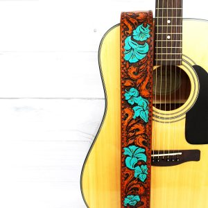 Turquoise Flower Women's Hand Tooled Leather Guitar Strap