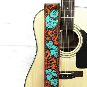 Women's Floral Lily Flower Leather Guitar Strap