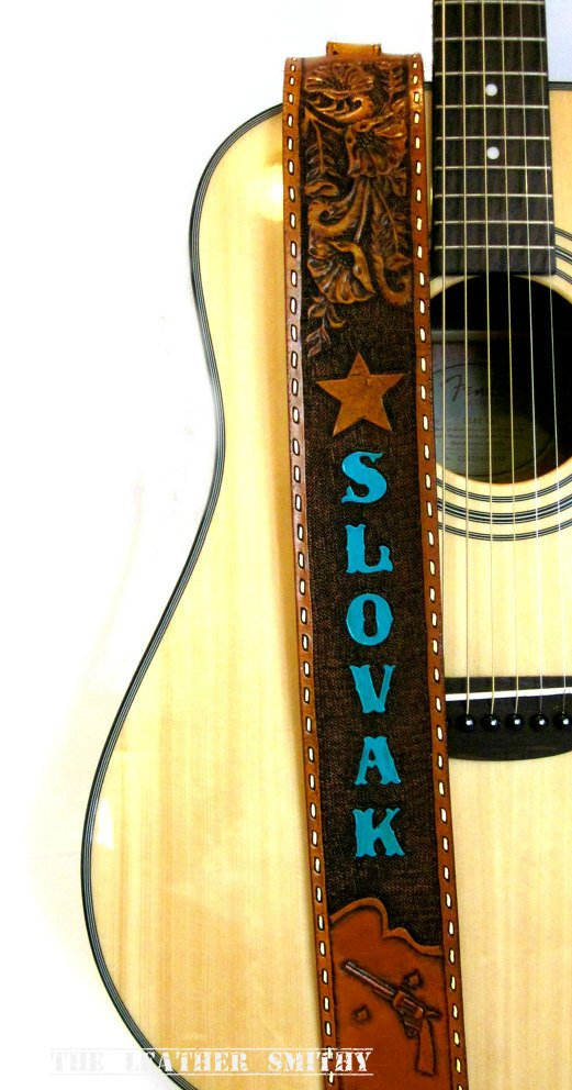 Western Wildflower Hand Tooled Personalized Leather Guitar