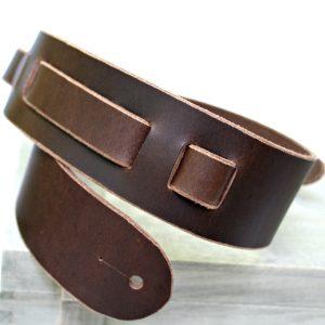 Dark Brown Buffalo Leather Guitar Strap