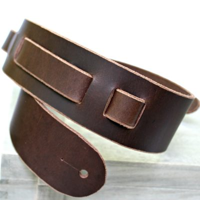 Dark Brown Buffalo Leather Guitar Strap