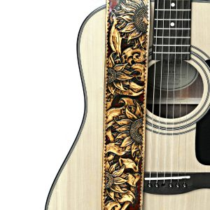 Hand Tooled Sunflower Guitar Strap