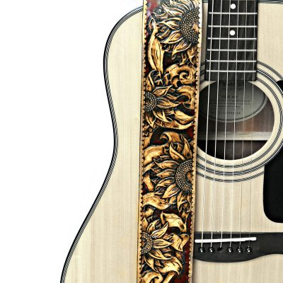 Hand Tooled Sunflower Guitar Strap