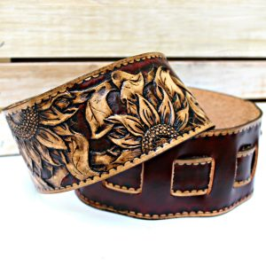 Leather Guitar Strap with Sunflowers