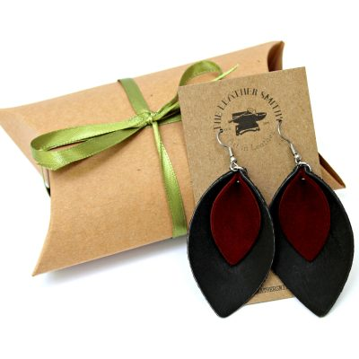 Black and Red Double Leaf Earrings with Gift Box