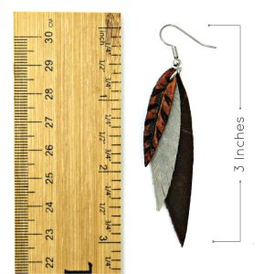 Brown Grey Leather Feather Earrings Measurement