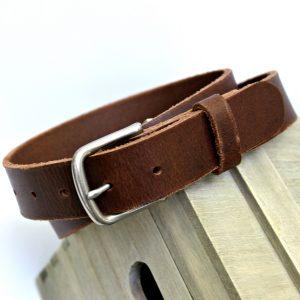 Men's Brown Buffalo Leather Belt