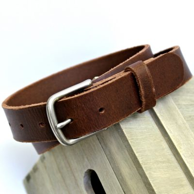 Men's Brown Buffalo Leather Belt