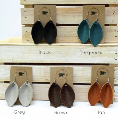 Leather Leaf Earrings Color Variations