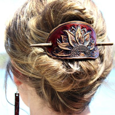 Leather Sunflower Hair Barrette
