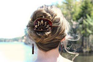 Leather Sunflower Hair Slide
