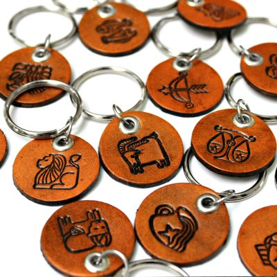 Round Horoscope Leather Key Chains