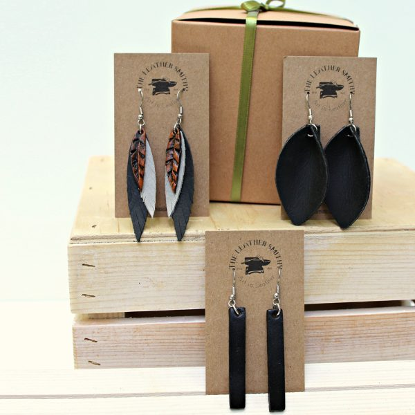 Gift Set Pack of 3 Leather Earrings with Gift Box