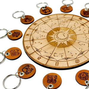 Zodiac Sign Leather Keychains
