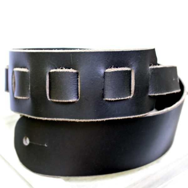 Distressed Black Buffalo Leather Guitar Strap