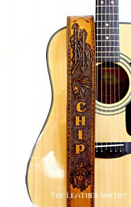 Personalized Tribal Skulls & Arrows Leather Guitar Strap