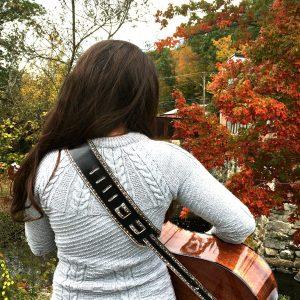 Black Adjustable Leather Guitar Strap Back