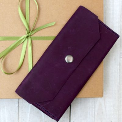Womens Dark Purple Leather Wallet