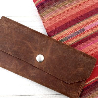 Womens Brown Leather Clutch Wallet