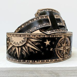 Tooled Southwestern Moon Sun Compass Rose Leather Guitar Strap
