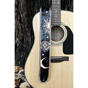 Tooled Starry Night Leather Guitar Strap