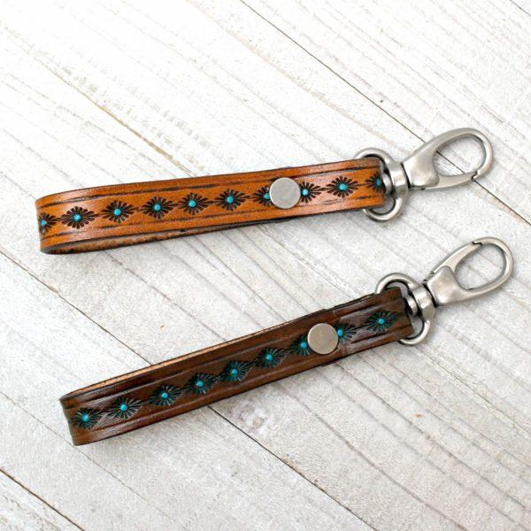 Southwestern Tooled Leather Key Fob