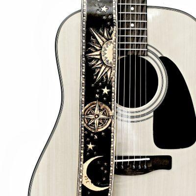 Moon Sun Compass Rose Black Leathe Guitar Strap