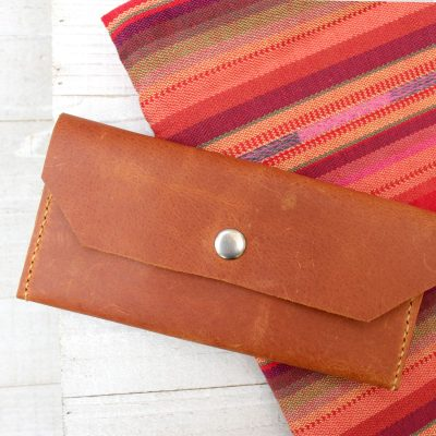 Women's Tan Leather Clutch Wallet