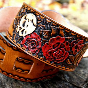 Skull Rose Leather Guitar Strap