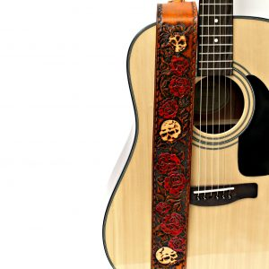 Hand Tooled Roses and Skull Leather Guitar Strap