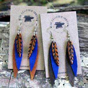 Long Cobalt Blue Leather Feather Earrings