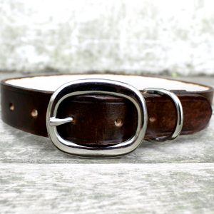 Brown Tooled Leather Dog Collar